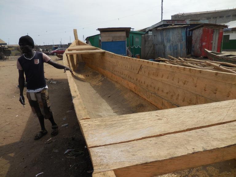Canoe under construction 2